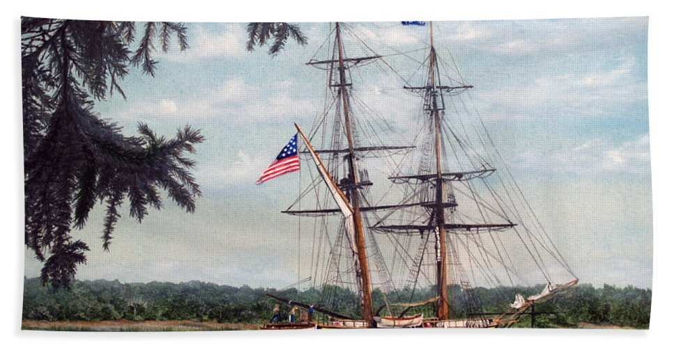 Tall Ship Bath Sheet featuring the painting The Tall Ship Niagara by Vicky Path