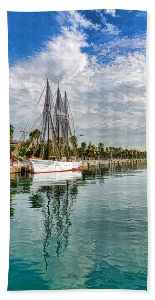 Georgia Mizuleva Bath Sheet featuring the digital art Tall Ships And Palm Trees - Impressions Of Barcelona by Georgia Mizuleva