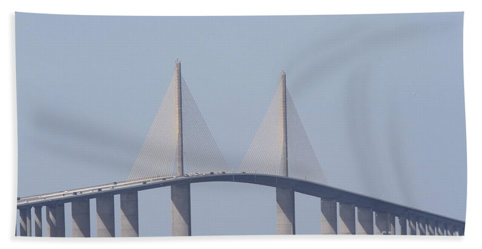 Bridge Hand Towel featuring the photograph Tampa Sky Way Bridge by Christiane Schulze Art And Photography