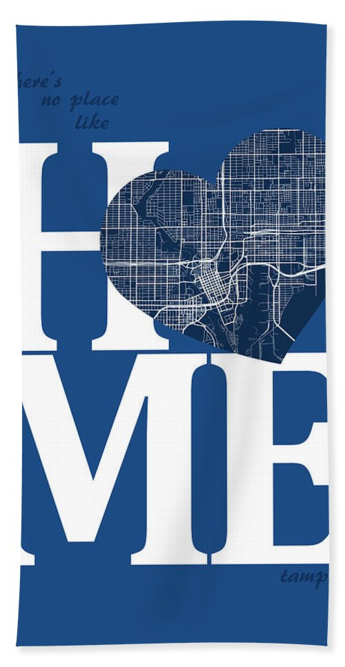 Road Map Bath Sheet featuring the digital art Tampa Street Map Home Heart - Tampa Florida Road Map In A Heart by Jurq Studio