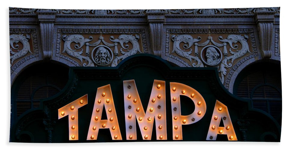 Tampa Theatre Hand Towel featuring the photograph Tampa Theatre Sign 1926 by David Lee Thompson