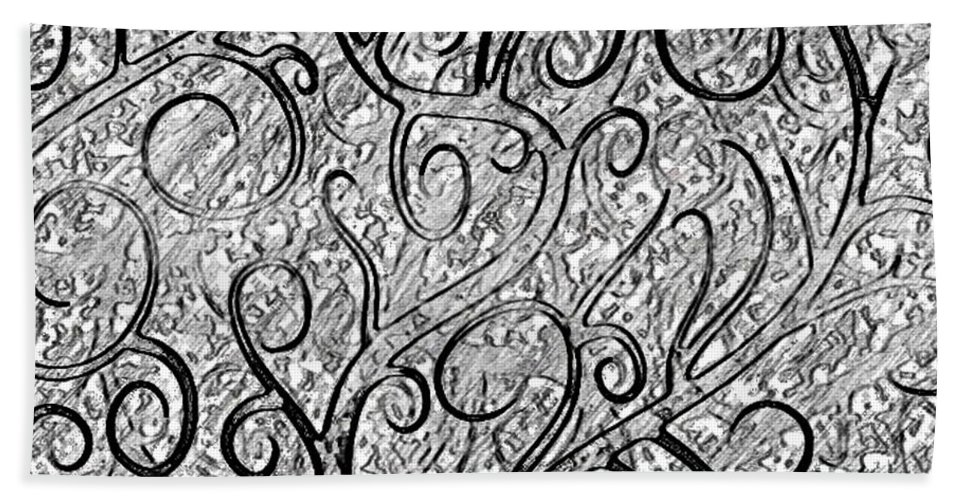 Black And White Bath Sheet featuring the drawing Tangled Up In Vines by Kathleen Odenthal