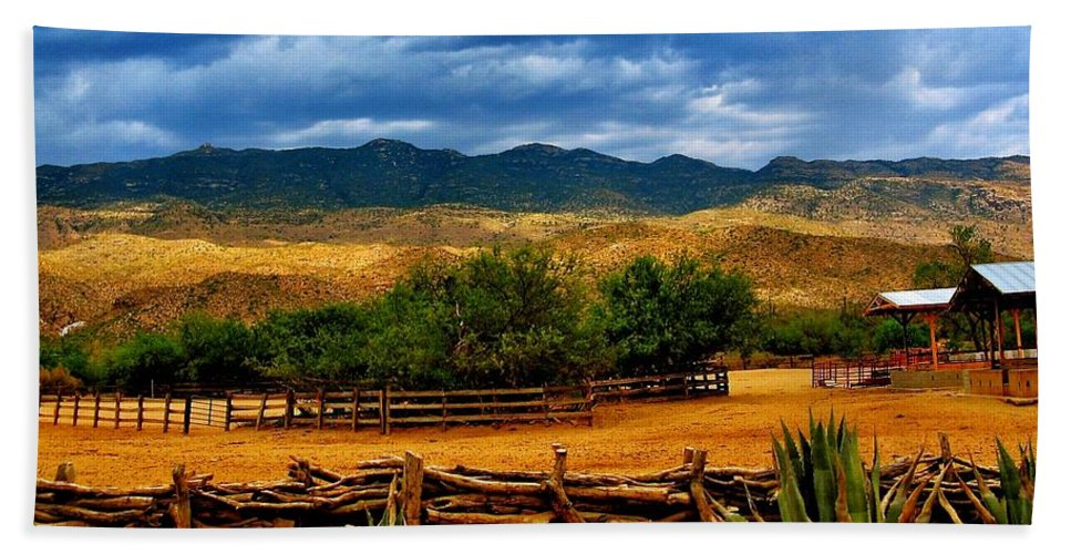 Tanque Verde Ranch Bath Sheet featuring the photograph Tanque Verde Ranch Tucson Az by Eduardo Palazuelos Romo