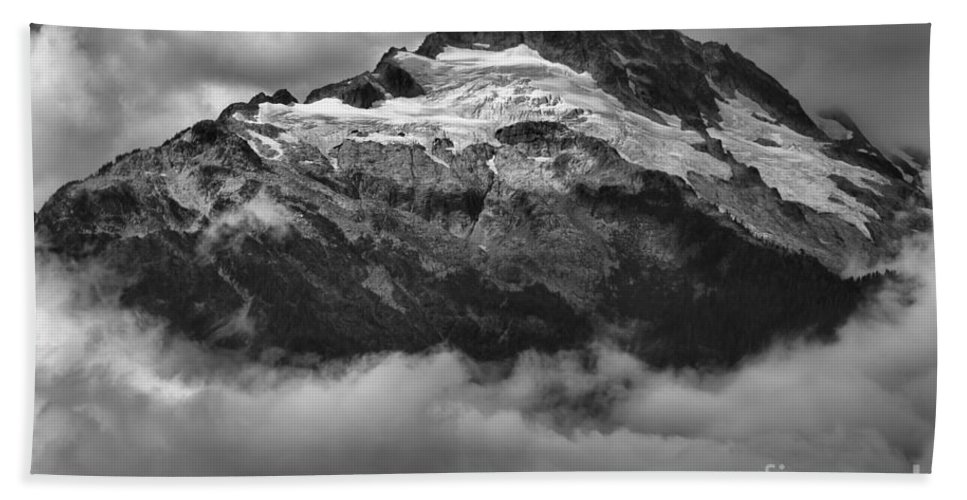 Glacier Mountains Bath Sheet featuring the photograph Tantalus Bursting Through The Clouds by Adam Jewell