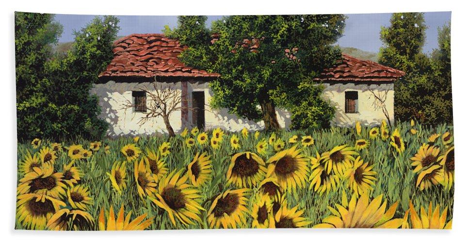 Tuscany Bath Towel featuring the painting Tanti Girasoli Davanti by Guido Borelli