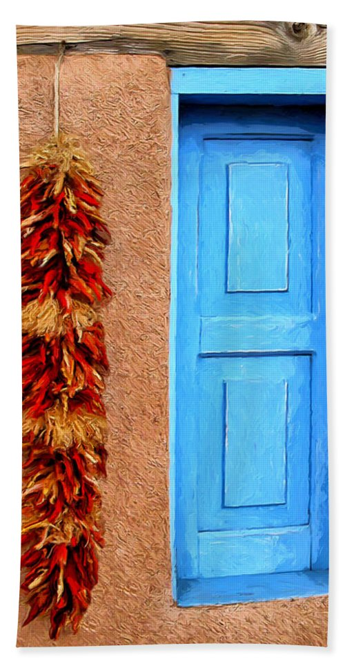 Taos Hand Towel featuring the painting Taos Blue Door by Dominic Piperata