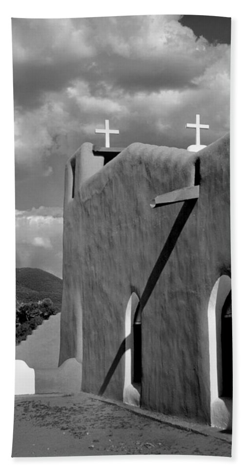 Architecture Bath Sheet featuring the photograph Taos Pueblo Church by David and Carol Kelly