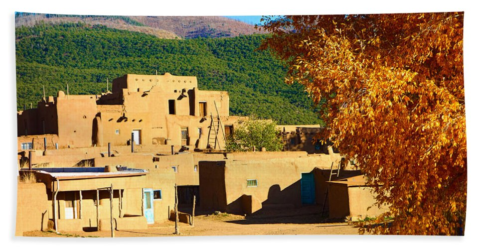 Taos Bath Sheet featuring the photograph Taos Pueblo South In Autumn by Robert Meyers-Lussier