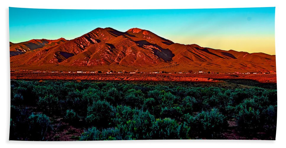 Sangre Bath Sheet featuring the photograph Taos Sunset by Charles Muhle