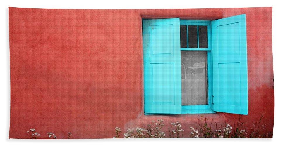 Rancho De Taos Bath Sheet featuring the photograph Taos Window Iv by Lanita Williams