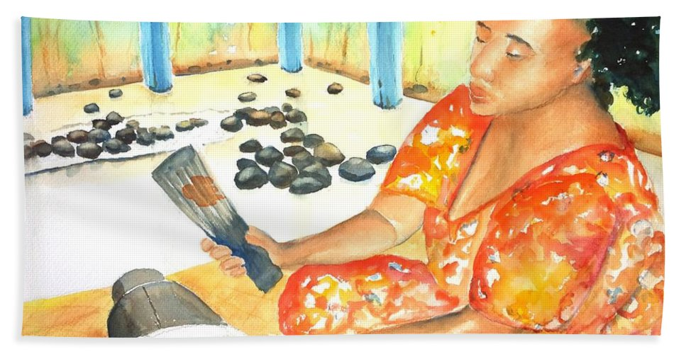Woman Bath Sheet featuring the painting Tapa Stretch by CarlinArt Watercolor