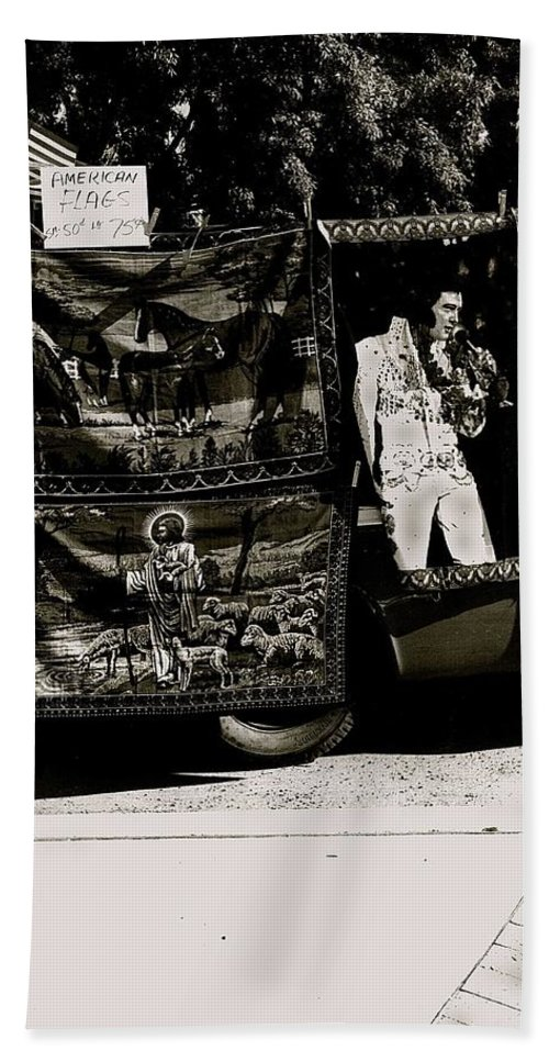 Tapestries Of Elvis Presley Hawai Concert Jesus Christ Sheep Horses Flags Armory Park Tucson Arizona Bath Sheet featuring the photograph Tapestries Of Elvis Presley Hawai Concert Jesus Christ Sheep Horses Flags Armory Park Tucson Az by David Lee Guss