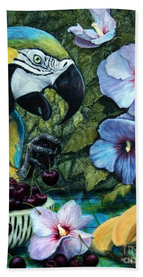 Macaw Hand Towel featuring the painting Tapestry by Joey Nash