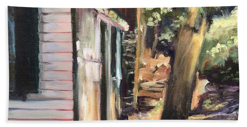 Cabin Bath Sheet featuring the painting Tara Loon by Donna Tuten