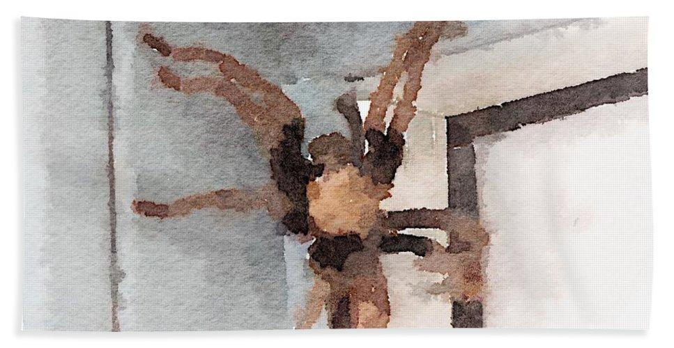 Tarantula Bath Sheet featuring the digital art Tarantula by Shannon Grissom