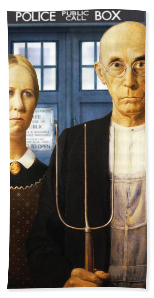 American Gothic Bath Sheet featuring the painting Tardis V Grant Wood by GP Abrajano
