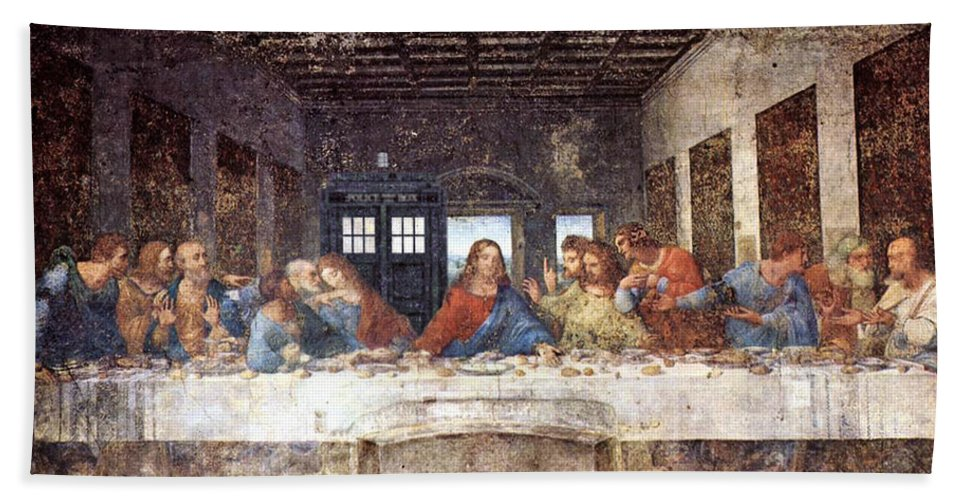 Homage Bath Sheet featuring the painting Tardis V Leonardo Da Vinci by GP Abrajano