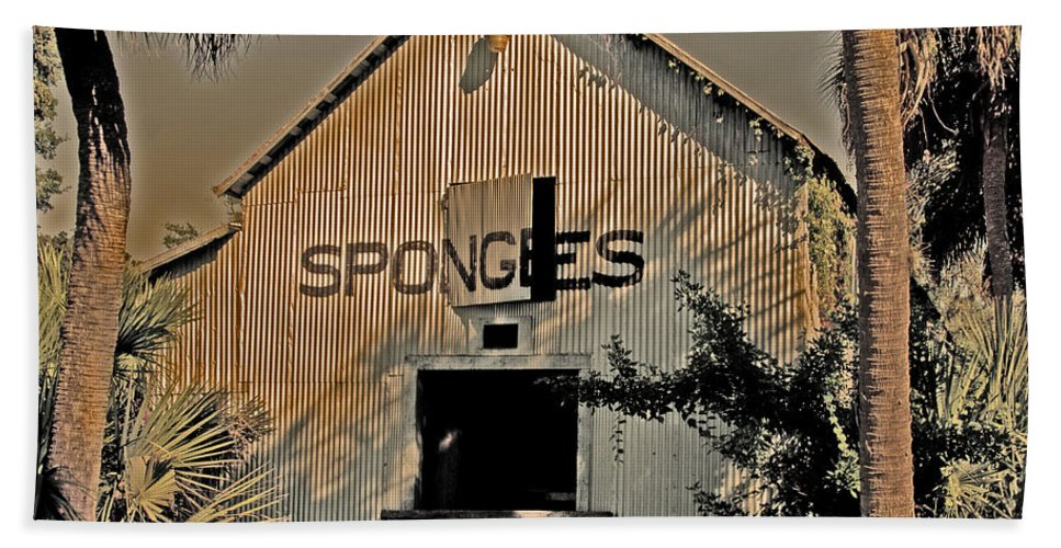 Tarpon Springs Hand Towel featuring the photograph Tarpon Springs Warehouse by Stephen Whalen