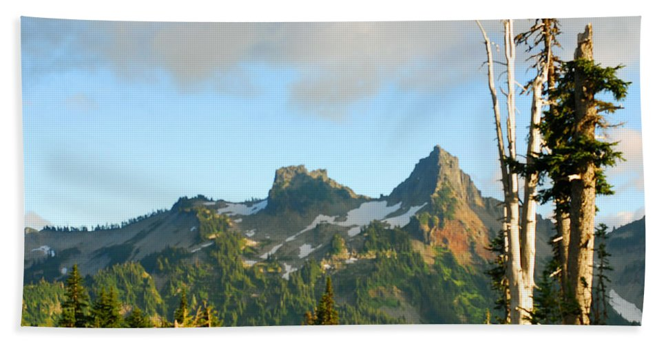 Connie Fox Hand Towel featuring the photograph Tatoosh Range In August. Mt Rainier National Park by Connie Fox