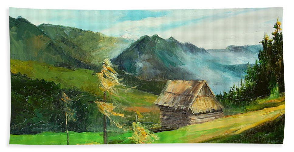 Mountains Hand Towel featuring the painting Tatry Mountains by Luke Karcz