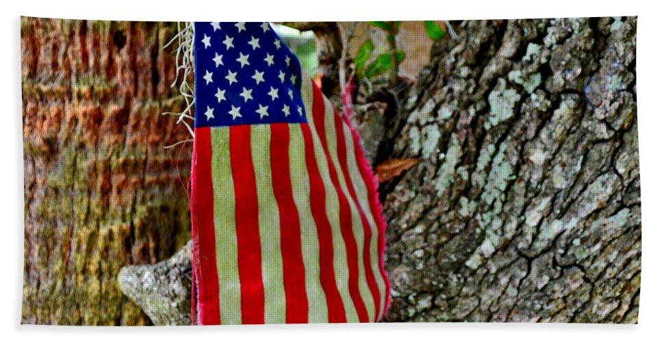 American Flag Bath Sheet featuring the photograph Tattered America by Patricia Greer
