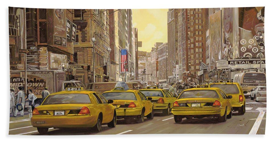 New York Hand Towel featuring the painting taxi a New York by Guido Borelli