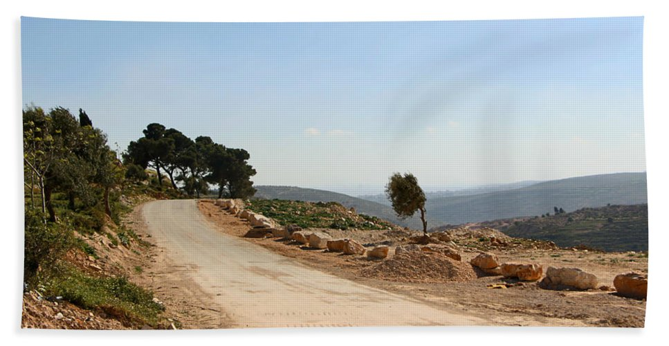 Taybeh Bath Sheet featuring the photograph Taybeh Side Road by Munir Alawi
