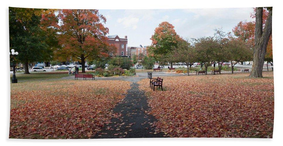 Autumn Bath Sheet featuring the photograph Taylor Park St Albans Vermont by Thomas Marchessault