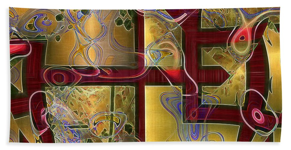 Abstract Bath Sheet featuring the painting Tea Ceremony by RC DeWinter