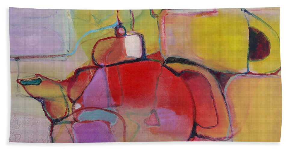 Watercolor Bath Sheet featuring the painting Tea For Two by Michelle Abrams