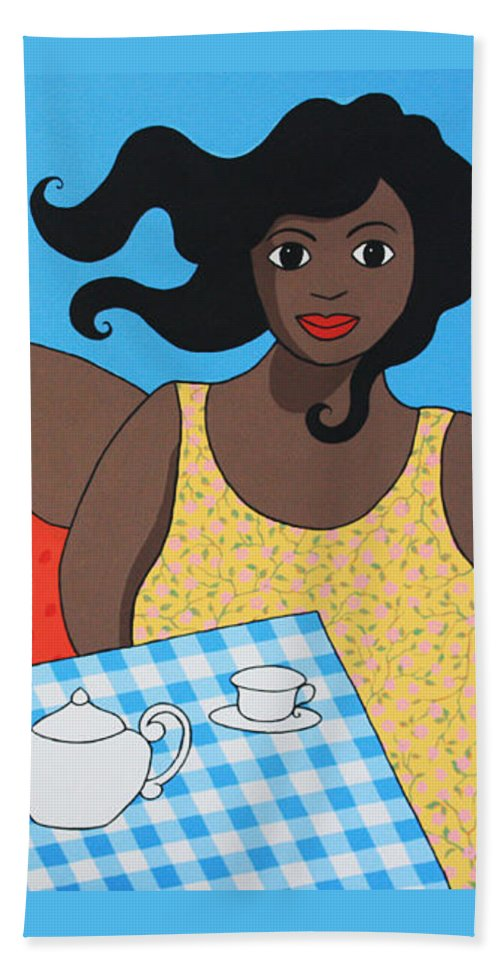 Women Hand Towel featuring the painting Tea For Two by Trudie Canwood