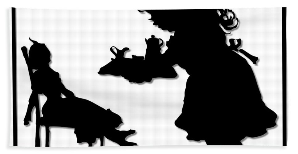Tea-party Bath Sheet featuring the digital art Tea Party Dolly Silhouette by Rose Santuci-Sofranko