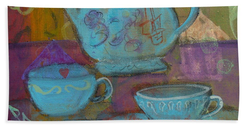 Tea Hand Towel featuring the painting Tea Spot by Robin Maria Pedrero