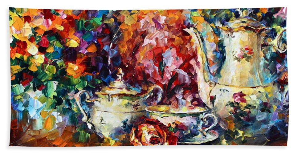 Afremov Bath Sheet featuring the painting Tea Time 2 by Leonid Afremov