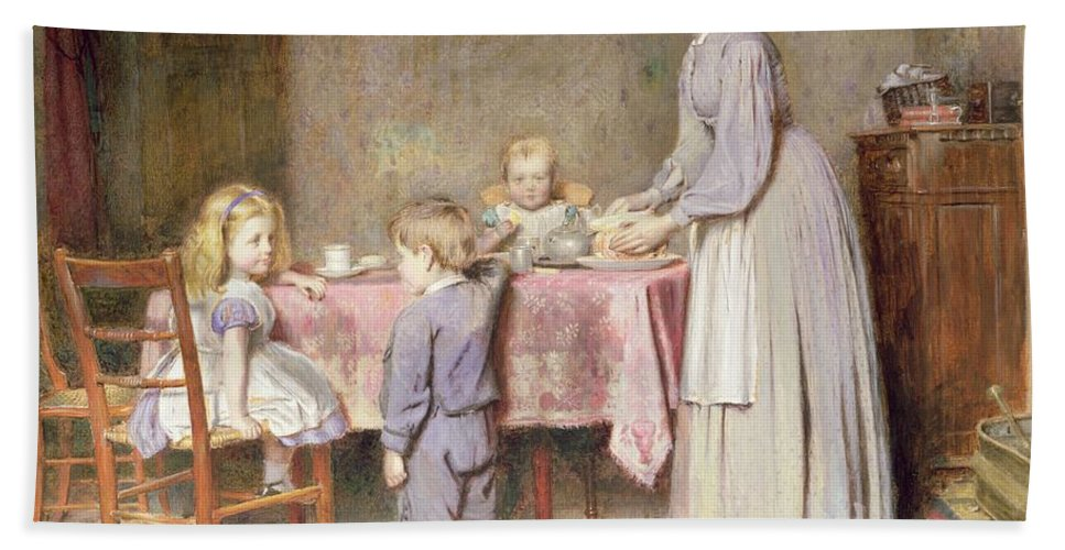 Children Hand Towel featuring the painting Tea Time by George Goodwin Kilburne