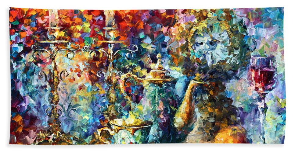 Afremov Bath Sheet featuring the painting Tea Time by Leonid Afremov