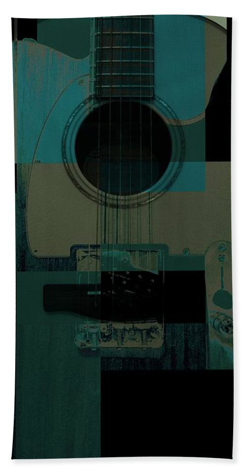 Guitar Hand Towel featuring the mixed media Teal We Play Again by Eric Rasmussen