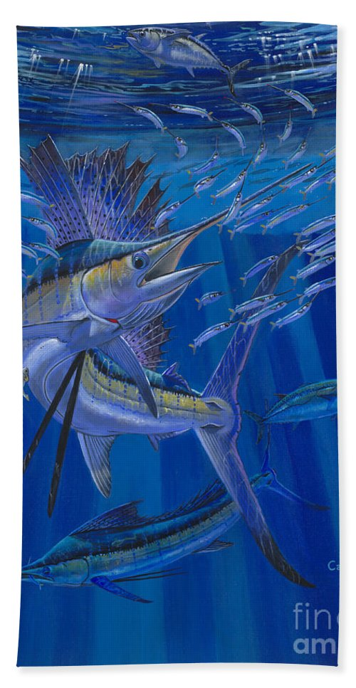 Sailfish Bath Towel featuring the painting Team Work Off0036 by Carey Chen