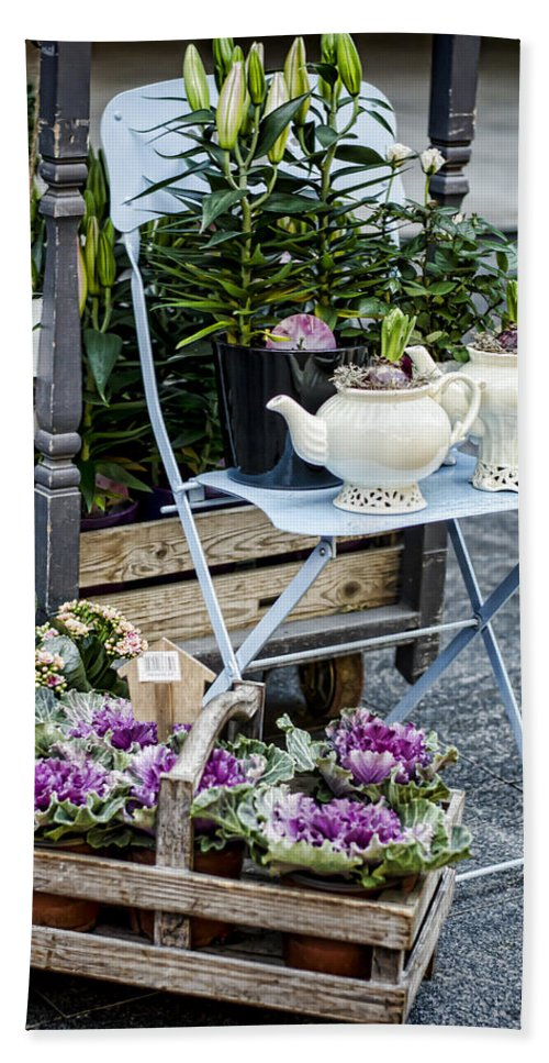 Flower Hand Towel featuring the photograph Teapots And Flowers by Heather Applegate