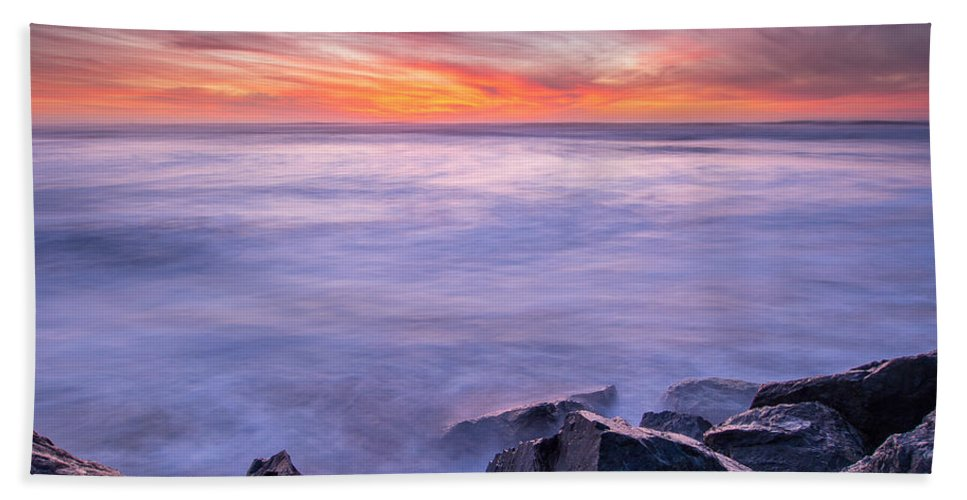 Humboldt Bay Hand Towel featuring the photograph Technicolor Dusk by Greg Nyquist