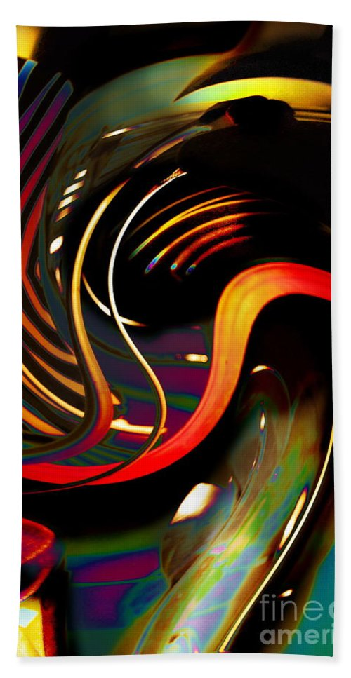 Swirling Stripes In Bright Colors With Black Accents And Iridescent Colors Make A Dramatic Statement And Capture The Imagination Bath Sheet featuring the photograph Techno Neon Stripes by Expressionistart studio Priscilla Batzell
