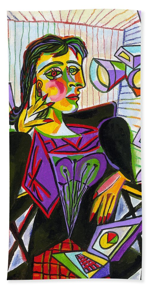 Painting Art Fun Technology Parody Woman Cubism Hand Towel featuring the painting Technology And Picasso by Leon Zernitsky