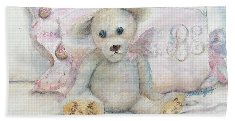 Teddy Bear Hand Towel featuring the painting Teddy Friend by Nadine Rippelmeyer