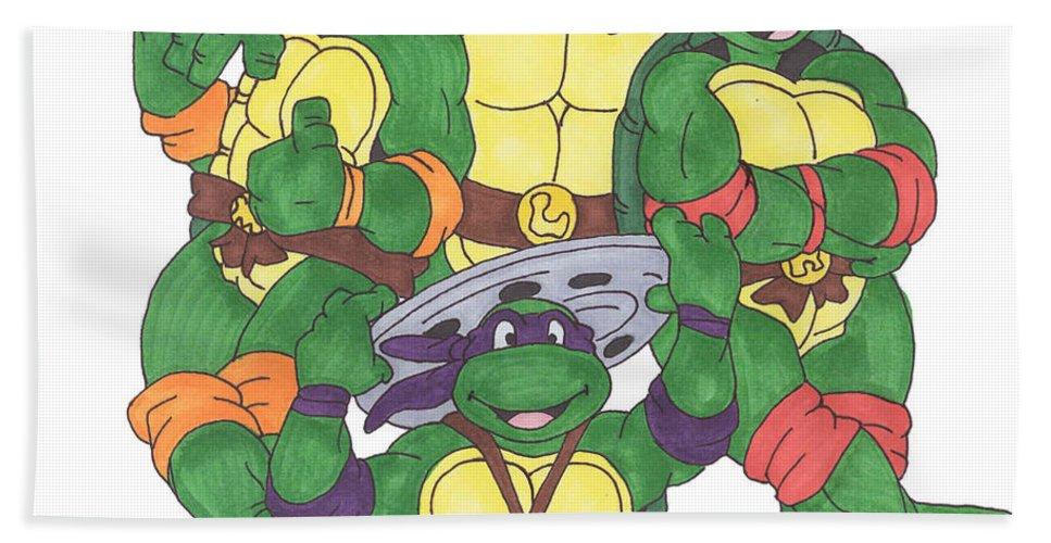 Fanart Bath Towel featuring the painting Teenage Mutant Ninja Turtles by Yael Rosen