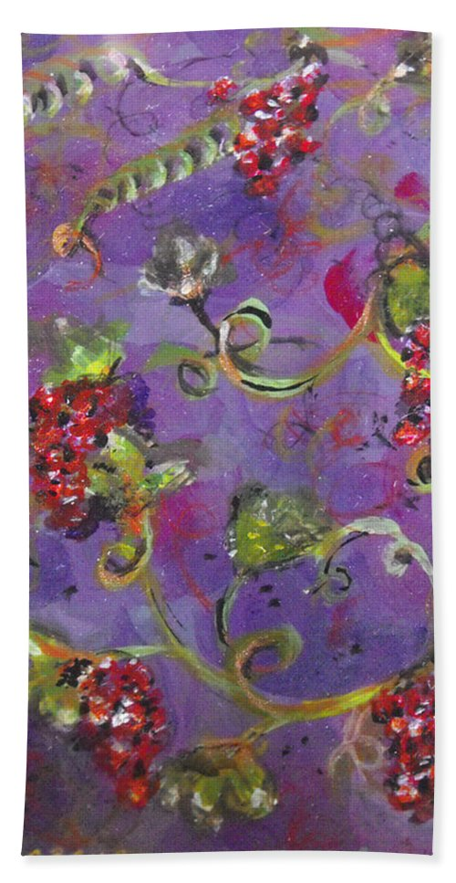 Grapes Hand Towel featuring the painting Teeny Tiny Pinot Party by Catherine Sprague