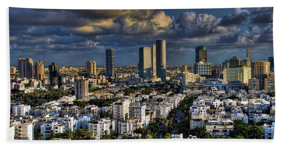 Israel Bath Sheet featuring the photograph Tel Aviv Skyline Fascination by Ronsho