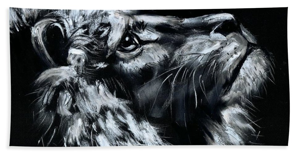 Lion Hand Towel featuring the photograph Tell Me When the Wait is OVER by Artist RiA