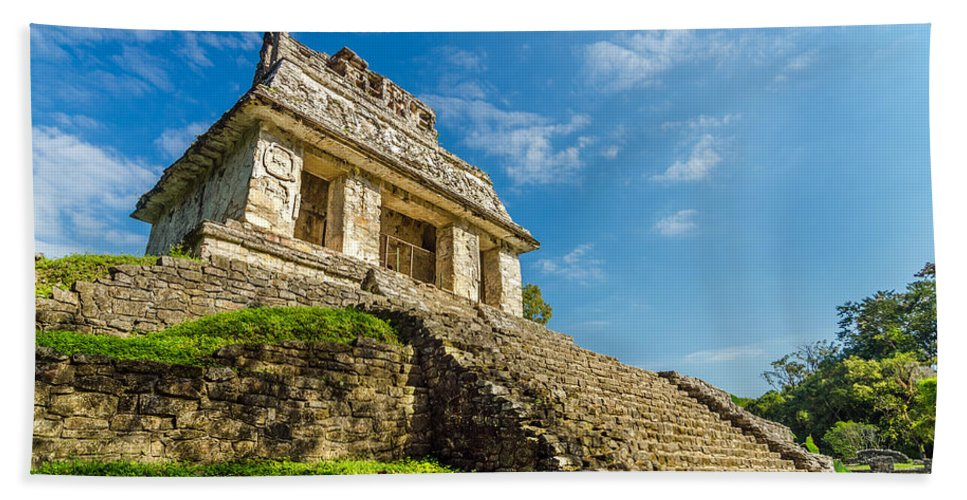 Palenque Bath Sheet featuring the photograph Temple And Blue Sky by Jess Kraft