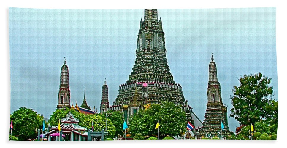 Temple Of The Dawn Hand Towel featuring the photograph Temple Of The Dawn-wat Arun From Waterways Of Bangkok-thailand by Ruth Hager
