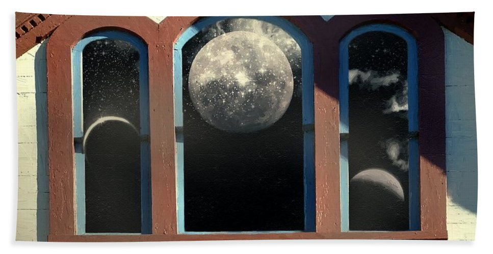 Moon Hand Towel featuring the painting Temple Of The Goddess by RC DeWinter